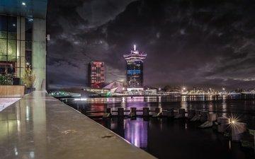 ночь, огни, дома, набережная, нидерланды, амстердам