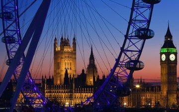 night, lights, london, ferris wheel, tower, england, big ben, the palace of westminster, parliament