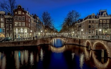 ночь, огни, мост, канал, дома, арка, нидерланды, амстердам