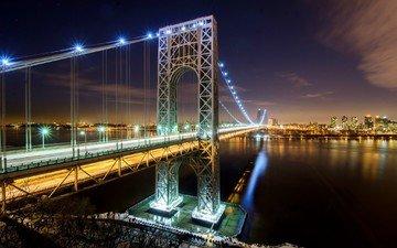 ночь, огни, мост, сша, нью-йорк, подсветка, мост джорджа вашингтона