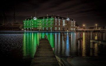 ночь, огни, нидерланды, амстердам, музей судноплавства