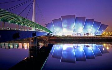 ночь, огни, шотландия, конференц-центр, выставочный зал, глазго
