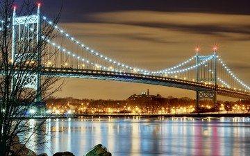 ночь, огни, вода, мост, город, сша, нью-йорк, подсветка, висячий мост, мост трайборо