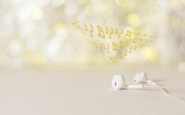 notes, music, headphones