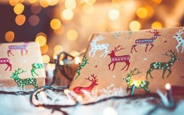new year, gift, holiday, garland, bokeh