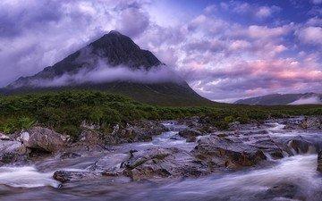 облака, река, камни, гора, шотландия, хайленд, гленко