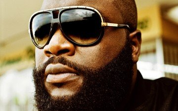 glasses, beard, rick ross, rapper