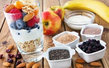орехи, малина, фрукты, яблоки, ягоды, черника, завтрак, десерт, банан, миндаль, йогурт, овсяные хлопья, сухофрукты, цукаты