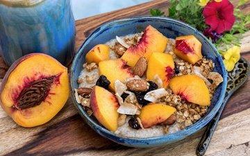 орехи, фрукты, персик, каша, миндаль, изюм, овсянка