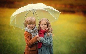 настроение, улыбка, осень, дети, девочка, дождь, зонт, мальчик