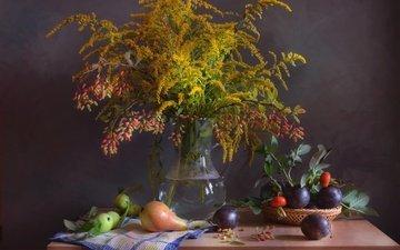 цветы, фрукты, осень, шиповник, букет, натюрморт, груши, сливы