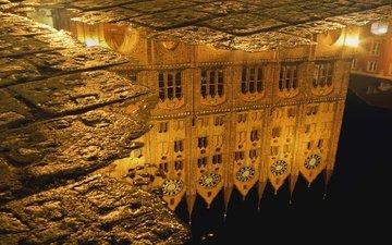 отражение, германия, лужа, мостовая, ратуша, мэрия, штральзунд