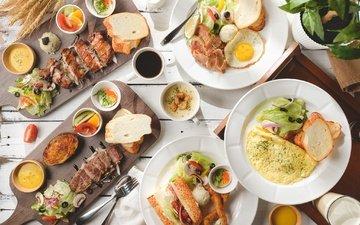 овощи, мясо, яичница, ассорти, омлет