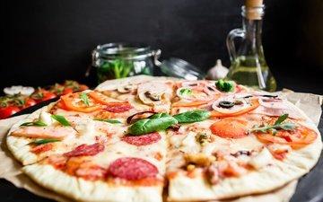 овощи, мясо, выпечка, помидоры, соус, пицца, тесто, специи, ассорти, шампиньоны