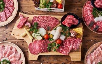 овощи, мясо, нарезка