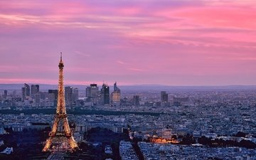 the sky, horizon, the city, paris, france, eiffel tower