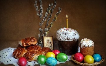 candle, easter, eggs, holiday, verba, cake, buns, muffin, orthodoxy