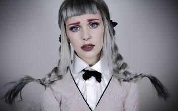 стиль, девушка, взгляд, волосы, певица, макияж, пирсинг, косички, мелани мартинез