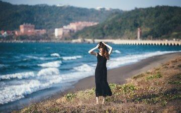 берег, девушка, море, платье, лето, модель, волосы
