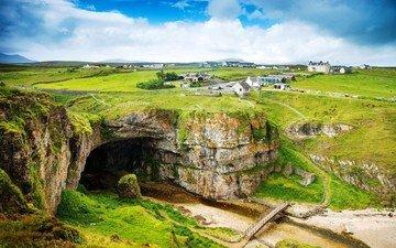 небо, облака, поле, луг, пещера, шотландия