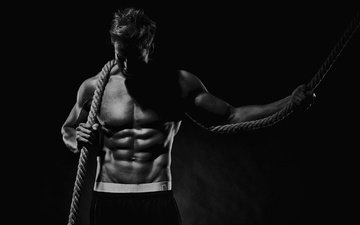 pose, black and white, male, rope, press, the cable, muscle, bodybuilder