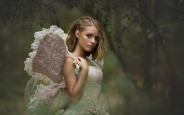 nature, girl, blonde, look, butterfly, wings, hair