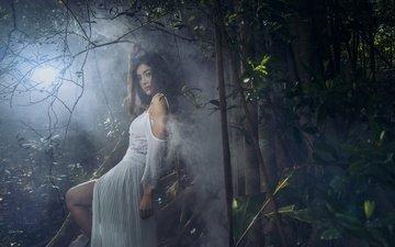 природа, девушка, туман, взгляд, волосы, белое платье