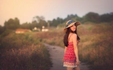 природа, девушка, улыбка, взгляд, волосы, шляпка, going home