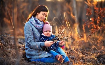 nature, branches, child, mom, woman, verba, mother