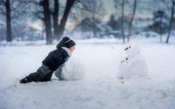 снег, зима, дети, радость, снеговик, мальчик
