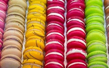 разноцветные, сладкое, печенье, десерт, пирожное, макаруны