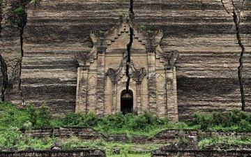 развалины, храм, скала, трещина, фасад, мьянма, мингун, мингун-пахтодугджа