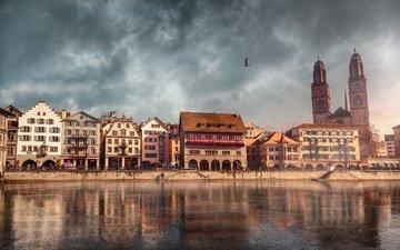 река, швейцария, дома, набережная, цюрих