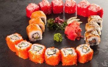 рис, суши, роллы, морепродукты, лосось, вассаби, имбирь
