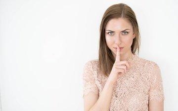 рука, девушка, палец, взгляд, волосы, лицо, знак, жест, yulia