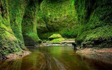река, скалы, камни, зелень, ручей, мох, шотландия, craighat