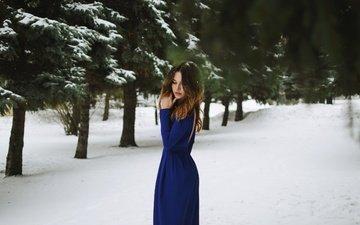 снег, зима, платье, портрет, модель, плечи, шатенка, atmosphere, анна легкая