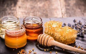 лаванда, соты, сладкое, мед, ложка, баночки