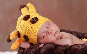 дети, спит, ребенок, шапка, младенец