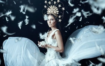 style, girl, dress, feathers, fluff, crown, bella kotak, odette, jael lloyd