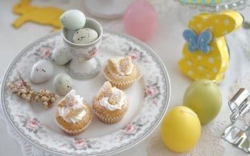 candles, easter, eggs, bunny, cakes, serving