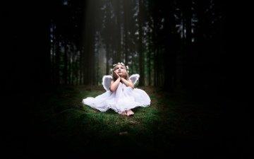свет, лес, девушка, взгляд, дети, девочка, волосы, белое платье