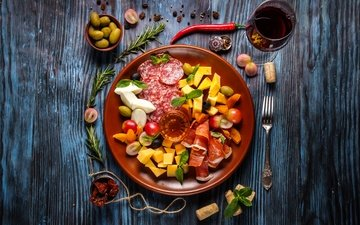 сыр, вино, овощи, мясо, колбаса, специи, салями, ассорти, бекон, нарезка