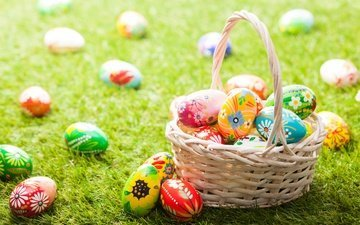 grass, easter, eggs, holiday, basket