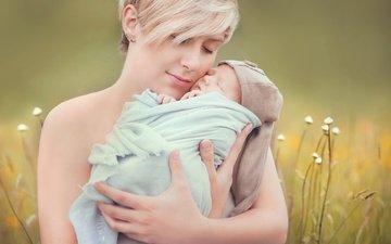 трава, ребенок, младенец, женщина, мать