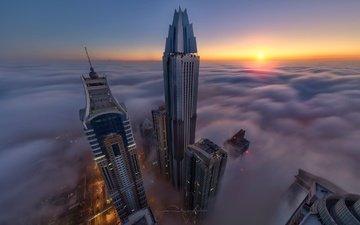 туман, город, высотки, дубай, оаэ