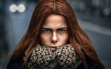 девушка, взгляд, волосы, лицо, веснушки, шарф, рыжеволосая, tanya bee