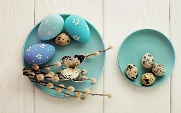 branches, board, butterfly, easter, eggs, holiday, plate, verba, quail eggs