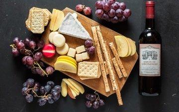 виноград, яблоки, сыр, хлеб, вино, бутылка, печенье