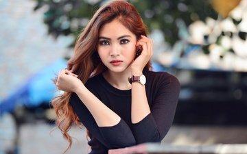 девушка, взгляд, часы, модель, волосы, азиатка, рыжеволосая, yasmin basalamah